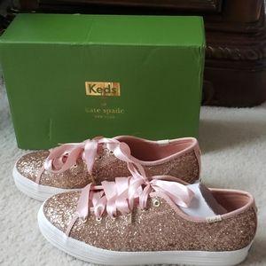 Kate Spade rose gold glitter keds 8.5
